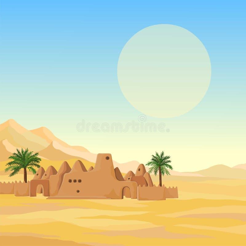 Dekoracyjny krajobraz - pustynia, góry, Afrykański antyczny meczet od gliny ilustracji