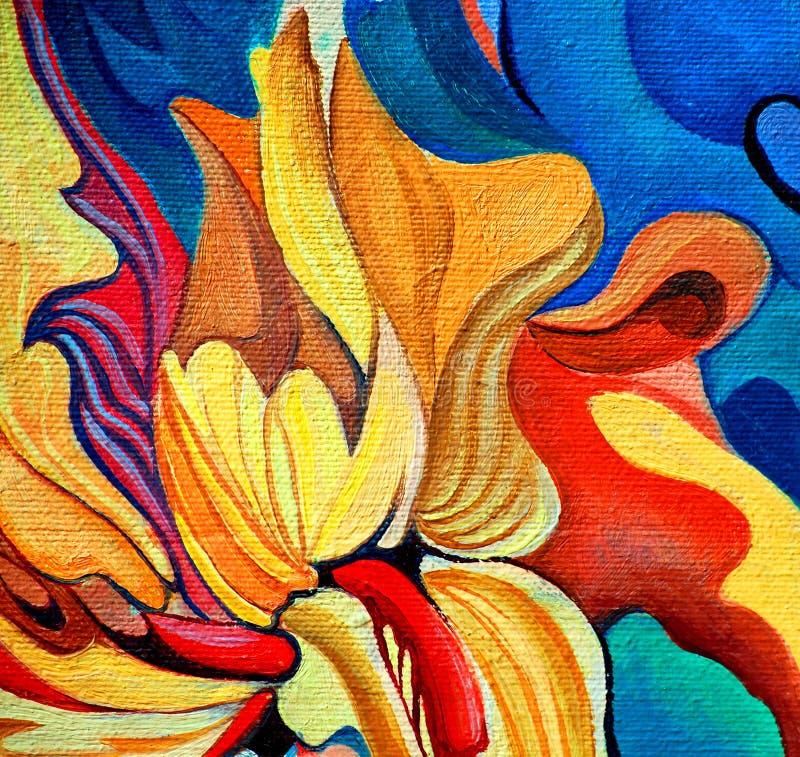 Dekoracyjny kwiatu obraz olejem na kanwie royalty ilustracja