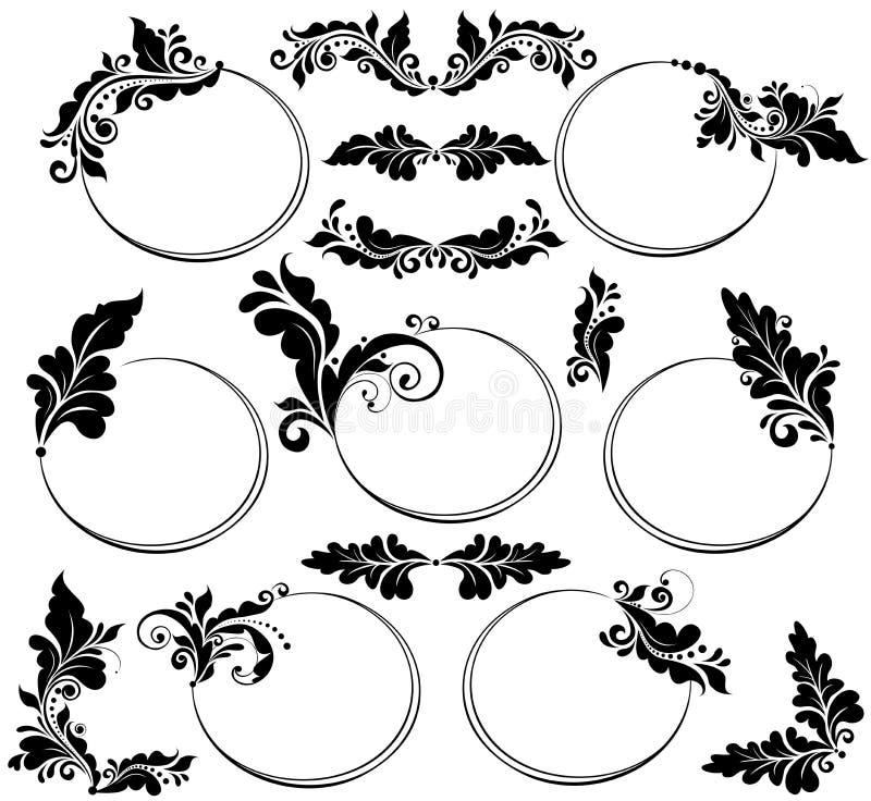 dekoracyjny kwiecisty ram ilustraci wzoru wektoru rocznik ilustracji