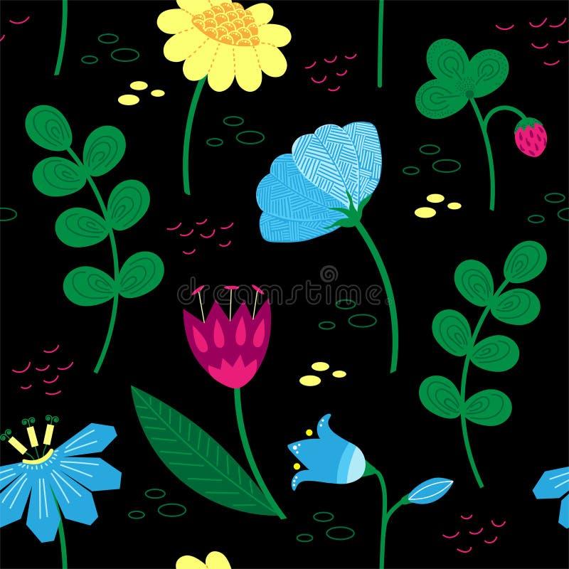 Dekoracyjny kwiecisty wzór z jagodami i pięknymi kwiatami Skandynawscy motywy Ręka rysujący doodle styl royalty ilustracja