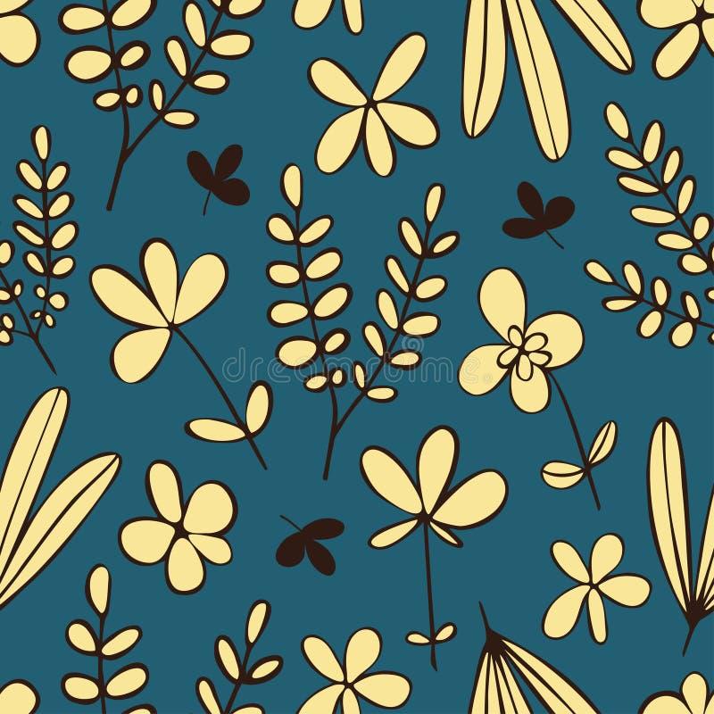 Dekoracyjny liści i kwiatów wektoru bezszwowy wzór ilustracja wektor