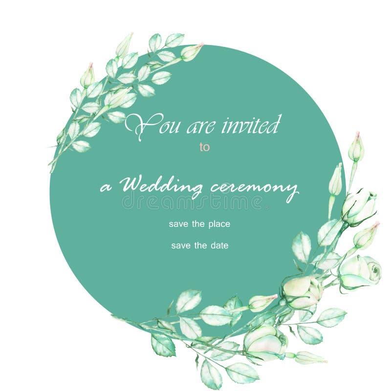 Dekoracyjny miejsce z ornamentem akwareli oferty zielone róże dla teksta, ślubny zaproszenie (sztandar) ilustracja wektor