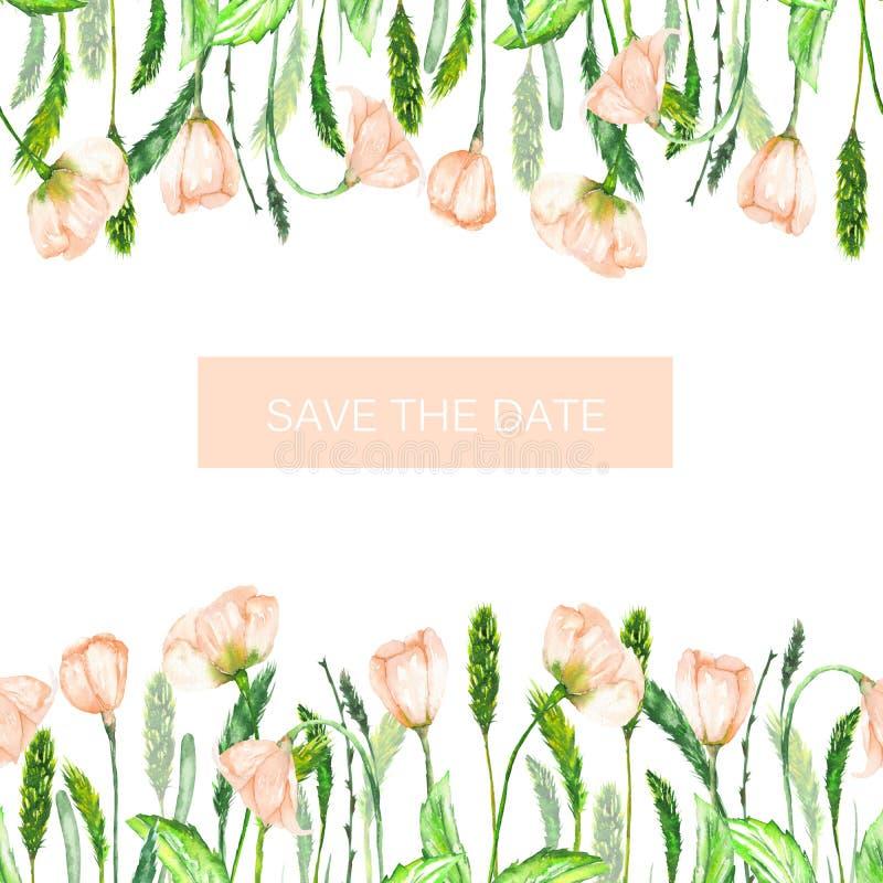 Dekoracyjny miejsce z ornamentem akwareli wiosny menchie kwitnie dla teksta, ślubny zaproszenie (sztandar) ilustracja wektor