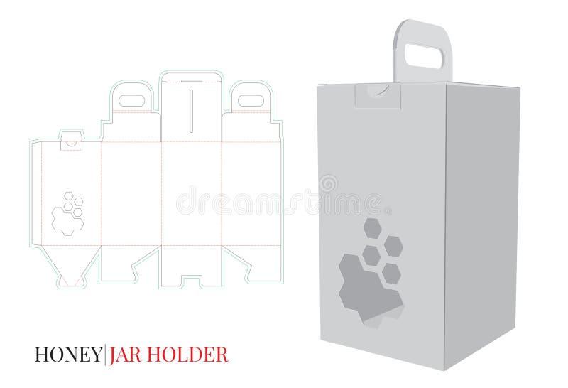 Dekoracyjny miodu pudełko, Miodowa słoju właściciela ilustracja Wektor z kostką do gry ciącą, laseru cięcia warstwami/ ilustracji