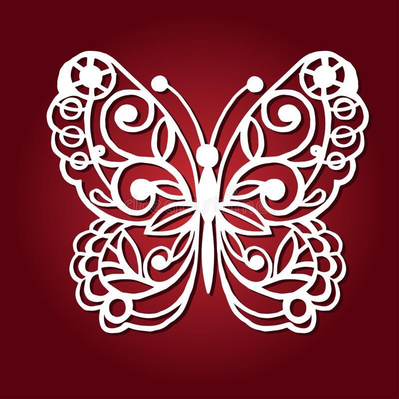 Dekoracyjny motyl dla laserowego rozcięcia ilustracja wektor