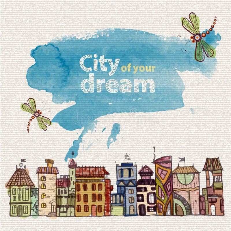 Dekoracyjny nakreślenie miasto ilustracja wektor