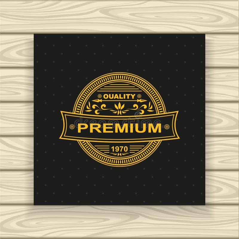 Dekoracyjny odznaki, ramy lub etykietki złoto na czerni ilustracja wektor