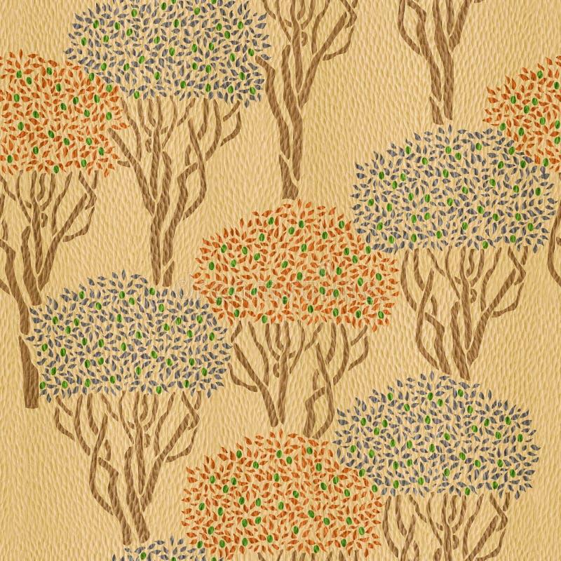 Dekoracyjny oliwny sad - bezszwowy tło ilustracji