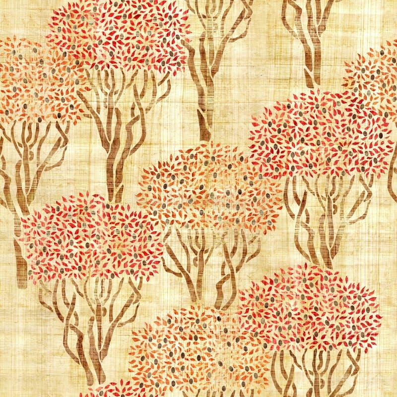 Dekoracyjny oliwny sad - bezszwowy tło ilustracja wektor