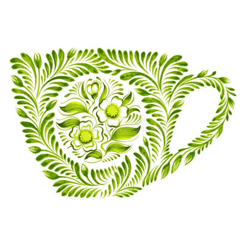 Dekoracyjny ornamentu teacup ilustracja wektor