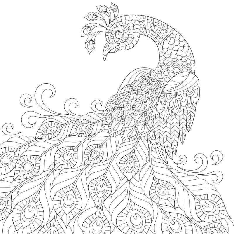dekoracyjny paw Dorosła antistress kolorystyki strona royalty ilustracja