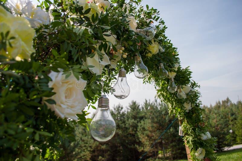 Dekoracyjny plenerowy sznurek zaświeca obwieszenie na drzewie w ogródzie Żarówka wystrój w plenerowym przyjęciu zdjęcie royalty free