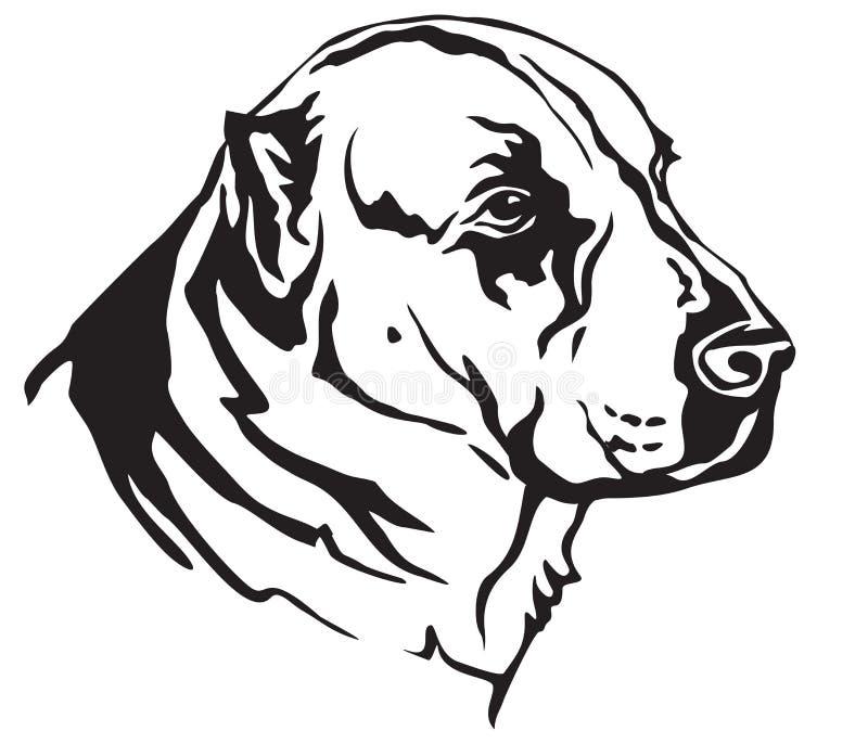Dekoracyjny portret Środkowy Azjatycki Pasterskiego psa wektoru illustr ilustracji