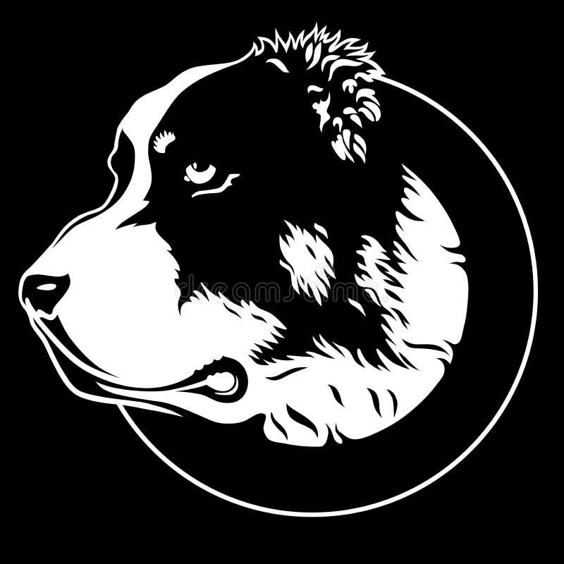 Dekoracyjny portret w profilu psi Środkowy Azjatycki Pasterski pies Alabai ilustracji