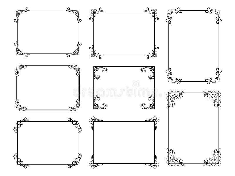 Dekoracyjny rama set z starymi filigree zawijasami dla menu książki Wektorowe ornamentacyjne eleganckie kwieciste rocznik granicy royalty ilustracja