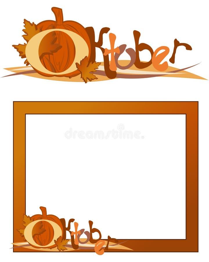 dekoracyjny ramowy Październik ilustracja wektor
