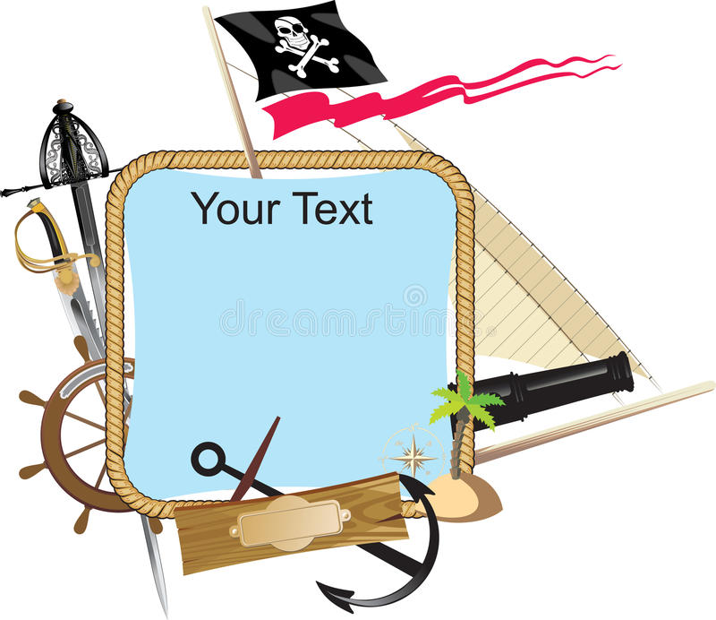dekoracyjny ramowy pirat ilustracja wektor