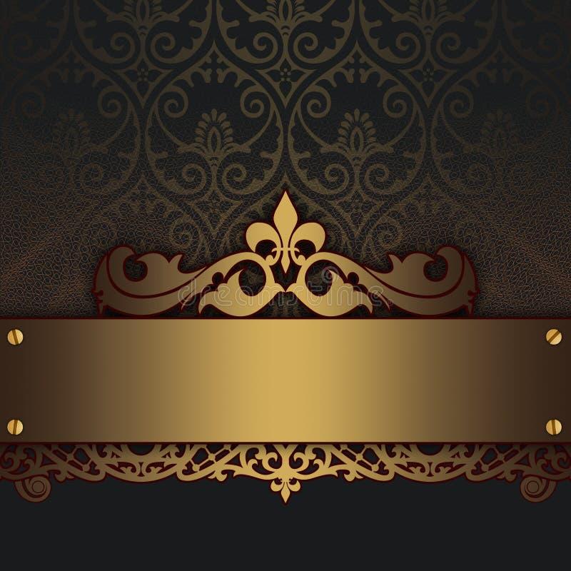Dekoracyjny rocznika tło z złocistym ornamentem royalty ilustracja
