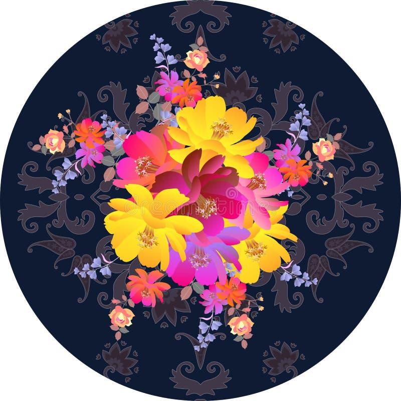 Dekoracyjny round herbaty lub talerza opakowania pudełkowaty projekt Bukiet luksusu ogródu kwiat na ciemnym Paisley tle etniczni  royalty ilustracja