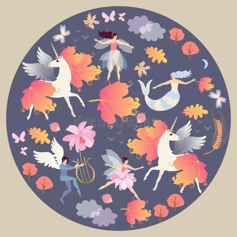 Dekoracyjny round talerz z oskrzydlonymi jednorożec, syrenką, czarodziejką, elfem, jesień liśćmi, chmurami, motylami i kwiatami w royalty ilustracja