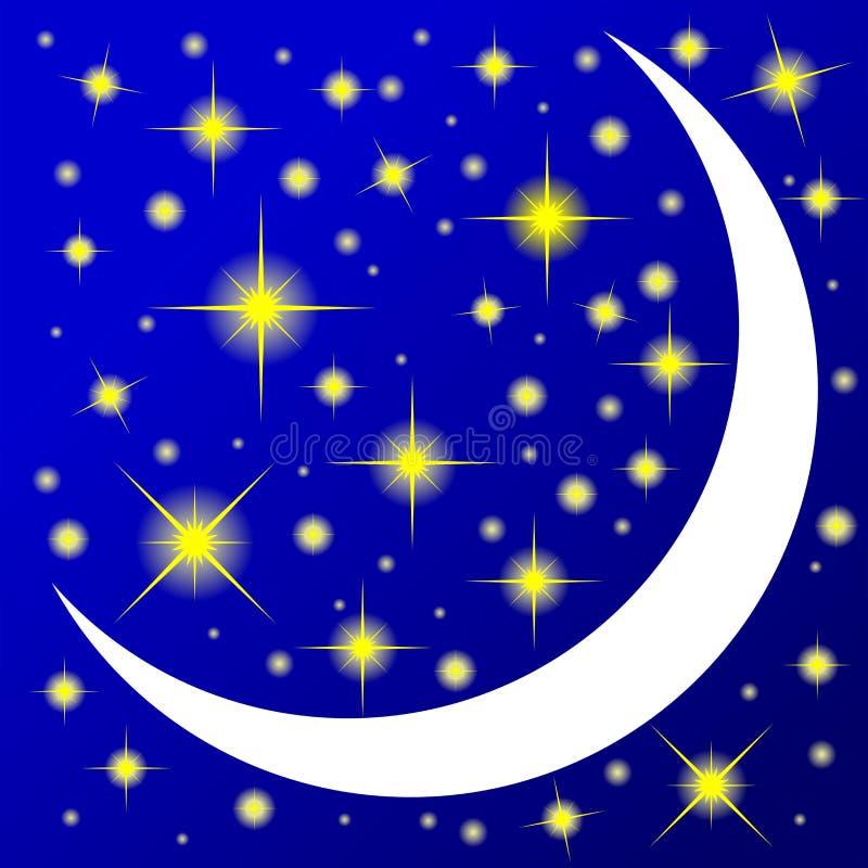 Dekoracyjny rysunek młoda księżyc jaskrawe jarzy się gwiazdy i royalty ilustracja