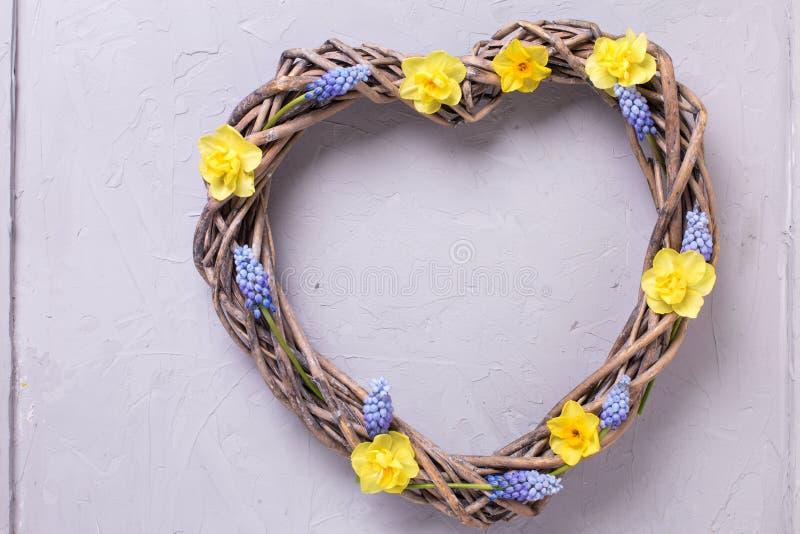 Dekoracyjny serce i jaskrawa wiosna textured kwitniemy na popielatym zdjęcie royalty free