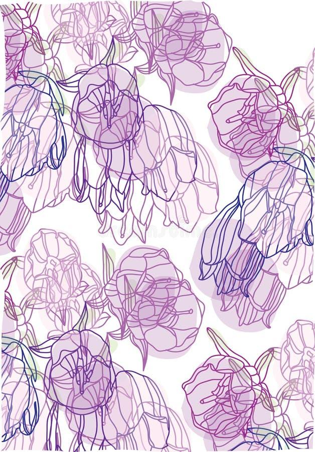 Dekoracyjny tło z delikatnymi purpurowymi tulipanami ilustracji