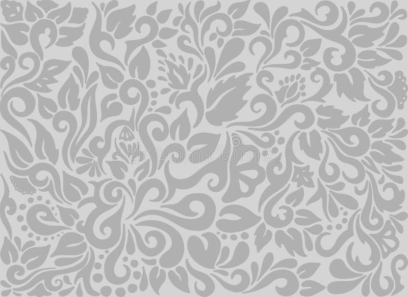 Dekoracyjny tło z elementami, kwiatami i liśćmi ręki rysującymi plemiennymi tatuażu, Szary tło wektoru maswerk royalty ilustracja