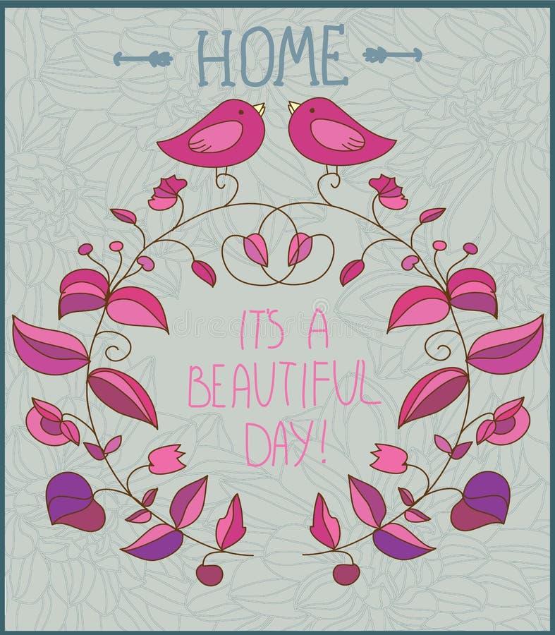 Dekoracyjny tło z kwiatami, ptaki i wpisowy dzień, royalty ilustracja