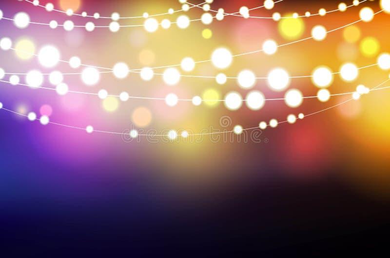 Dekoracyjny tło z rozjarzonymi smyczkowymi światłami ilustracja wektor