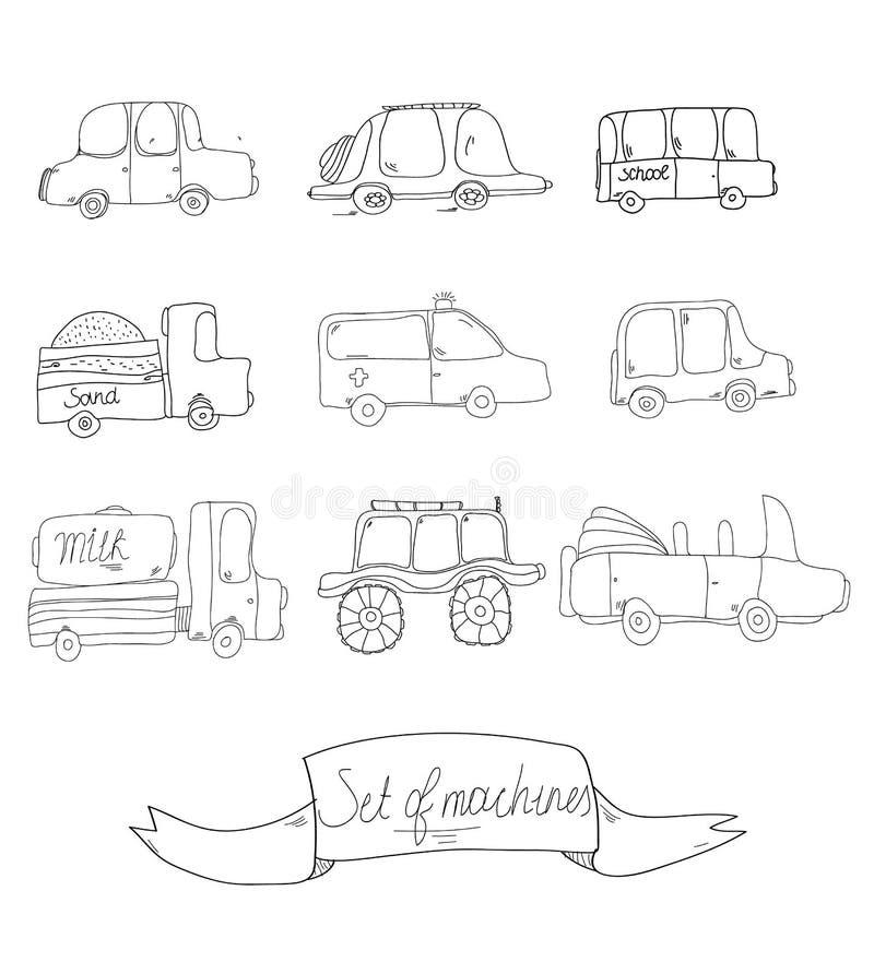 Dekoracyjny tło z setem zabawkarscy samochody ilustracji
