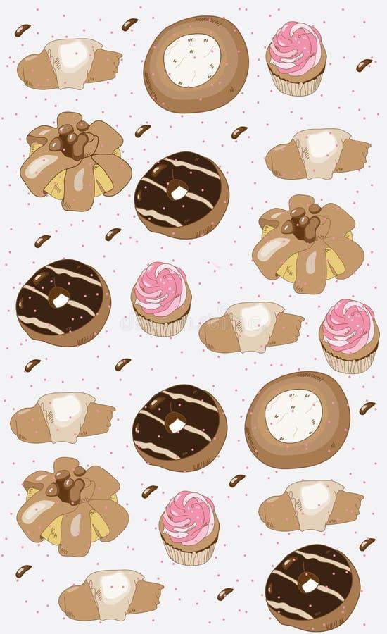 dekoracyjny tło z tortów ciastek donuts muffins ilustracji