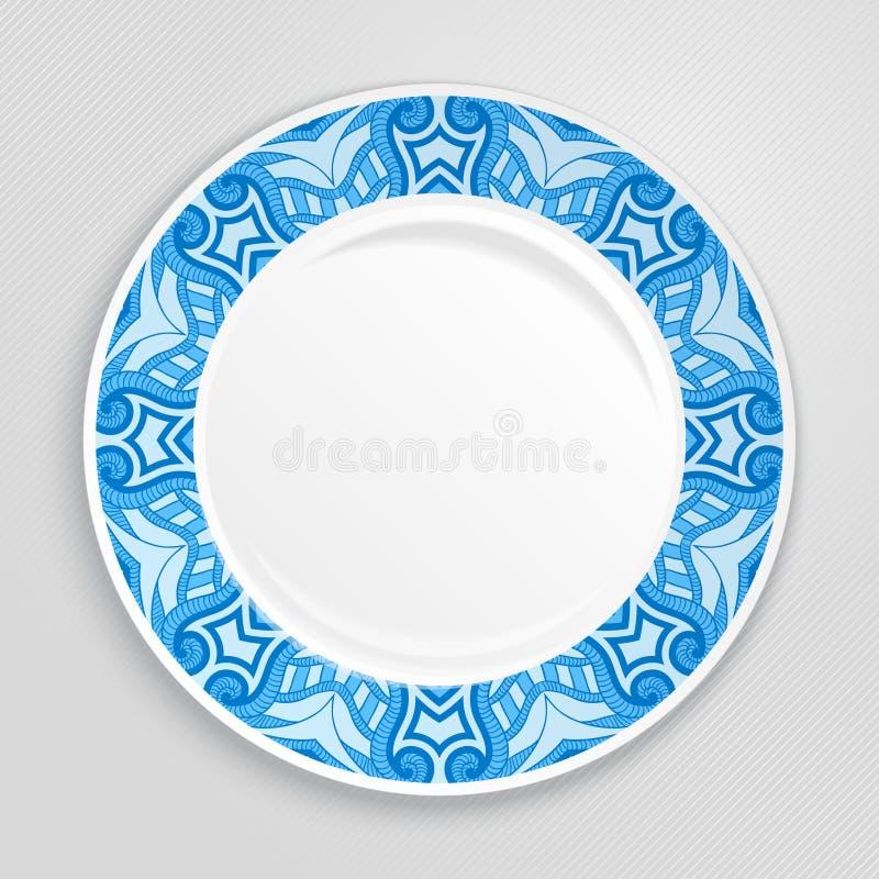 Dekoracyjny talerz, odgórny widok ilustracji