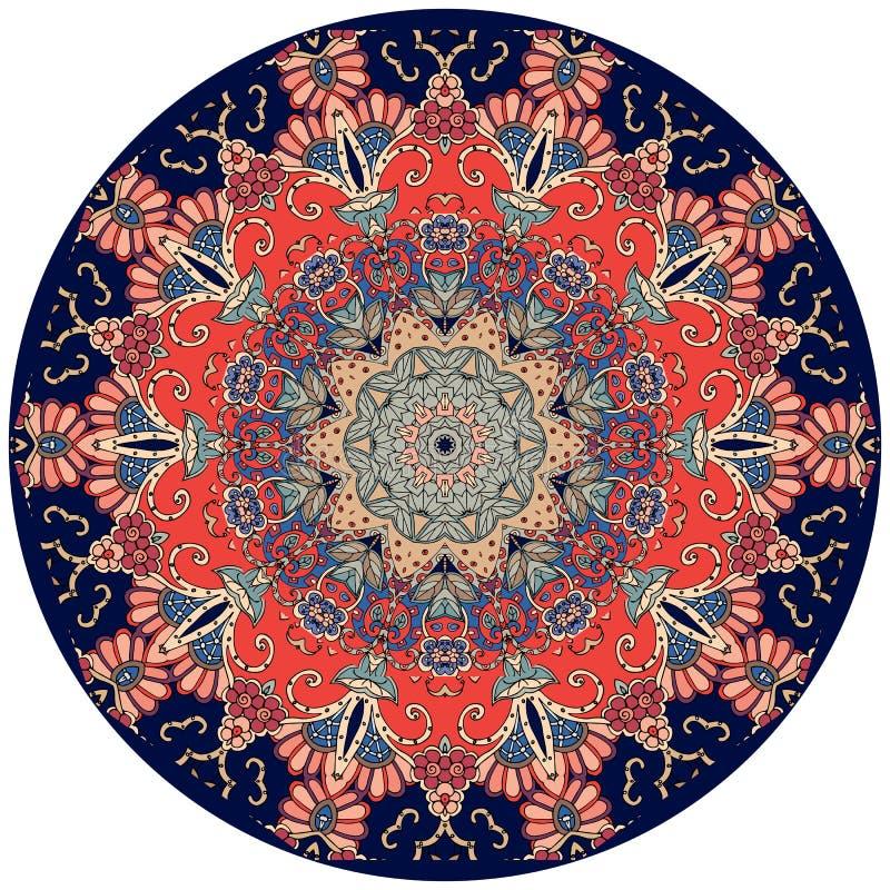 Dekoracyjny talerz w hindusa stylu Kwiat - mandala ilustracji