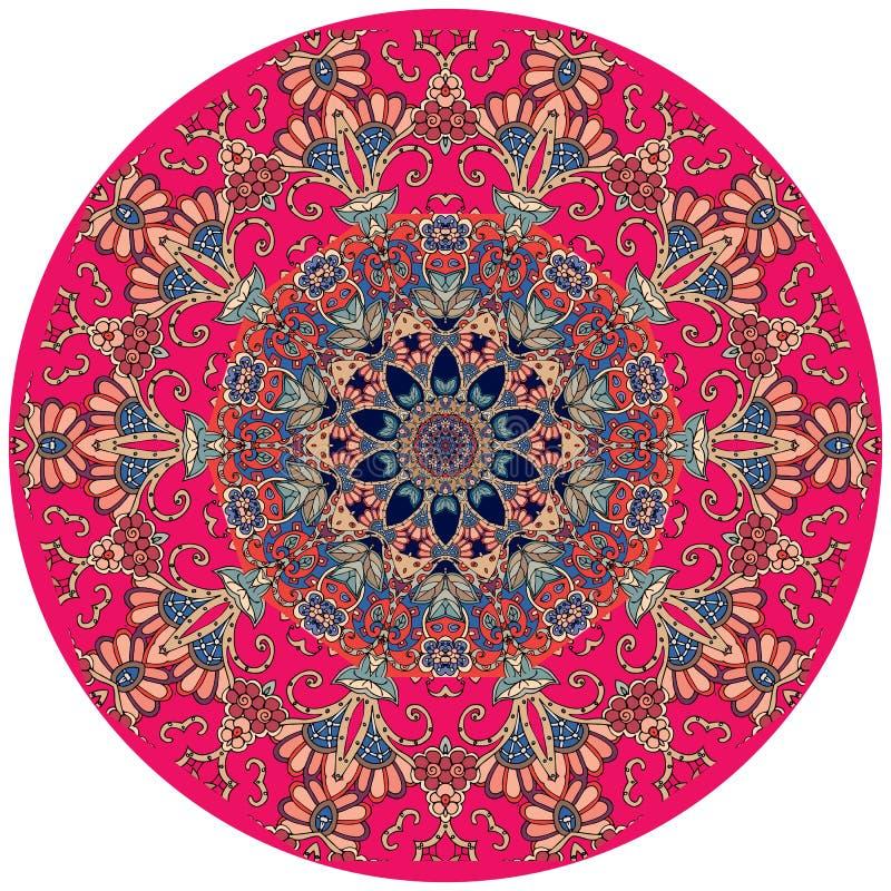 Dekoracyjny talerz w hindusa stylu runda dywan ilustracja wektor