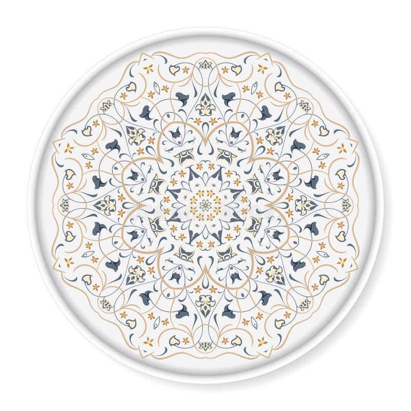 Dekoracyjny talerz z arabskim ornamentem ilustracja wektor