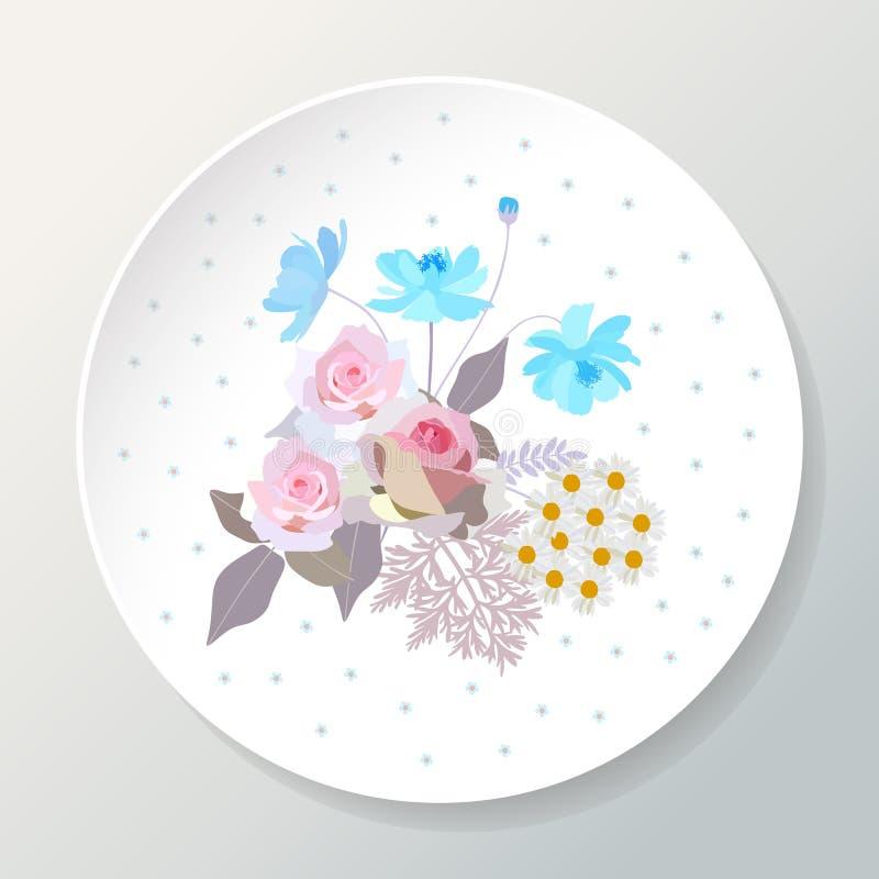 Dekoracyjny talerz z bukietem piękny lato kwitnie rabatowy bobek opuszczać dębowego faborków szablonu wektor ilustracja wektor