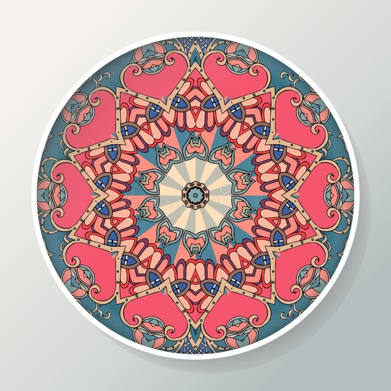 Dekoracyjny talerz z mandala w etnicznym stylu Orientalny round ornament z indyjskimi motywami royalty ilustracja