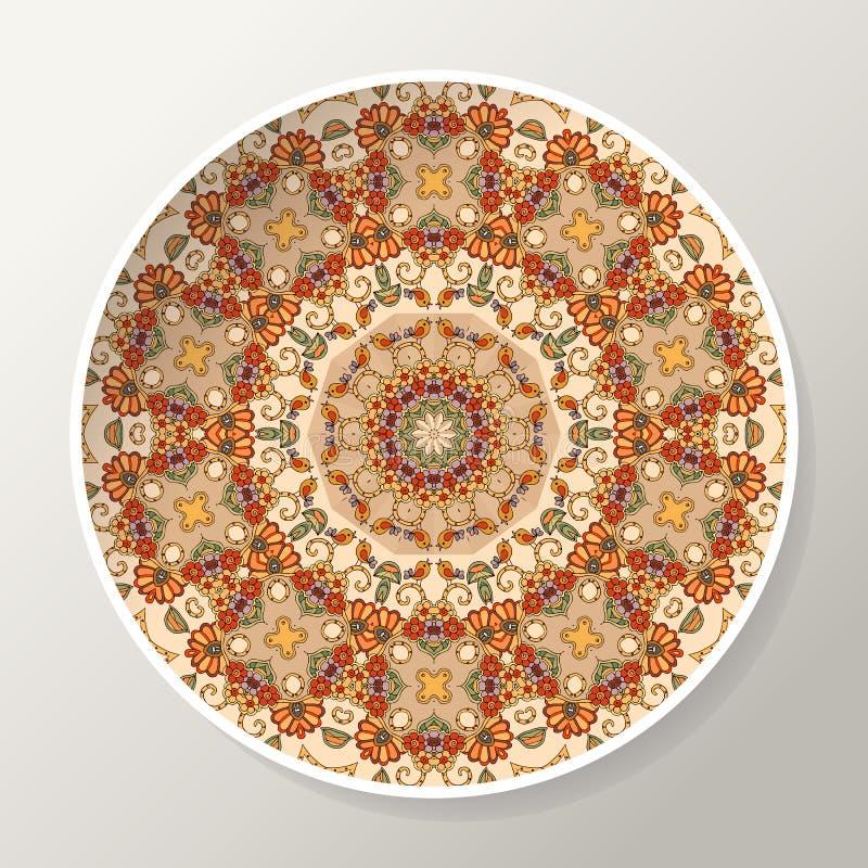 Dekoracyjny talerz z mandala w etnicznym stylu Orientalny round ornament z kwiatami i ptakami ilustracja wektor