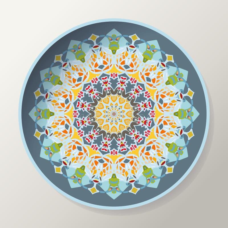 Dekoracyjny talerz z mandala w etnicznym stylu Piękny orientalny round ornament royalty ilustracja