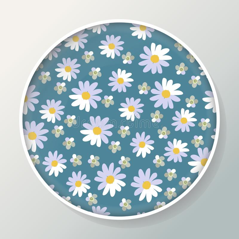 Dekoracyjny talerz z piękną stokrotką kwitnie na błękitnym tle ilustracja wektor