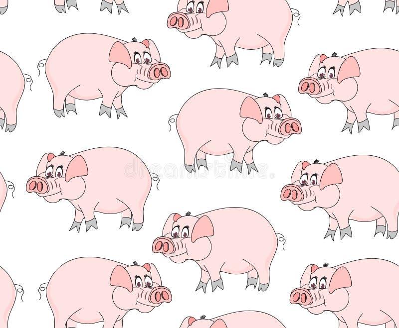 Dekoracyjny wektorowy bezszwowy wzór z ślicznymi śmiesznymi świniami ilustracji