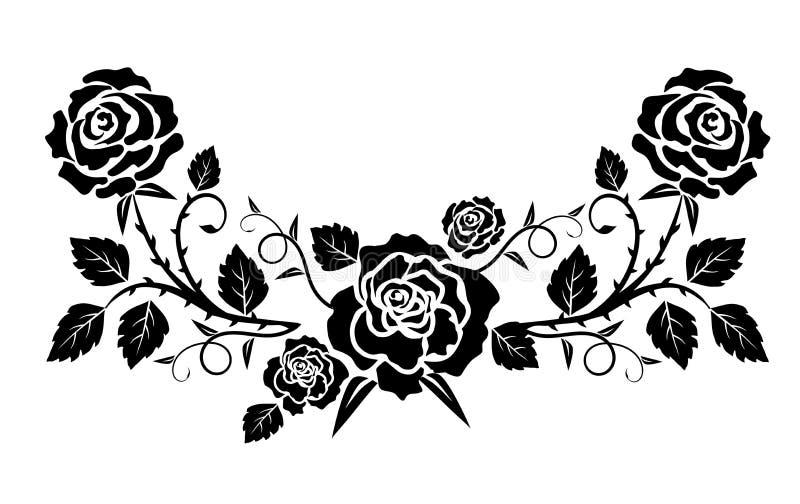 Dekoracyjny wianek z różami ilustracja wektor