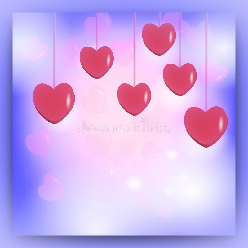 Dekoracyjny wzór dla walentynki ` s dnia menchii serc na błękitnym tle royalty ilustracja