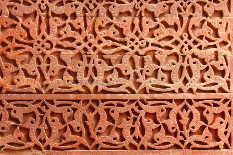 Dekoracyjny wzór - kamienny cyzelowanie w Qutub Minar fotografia royalty free