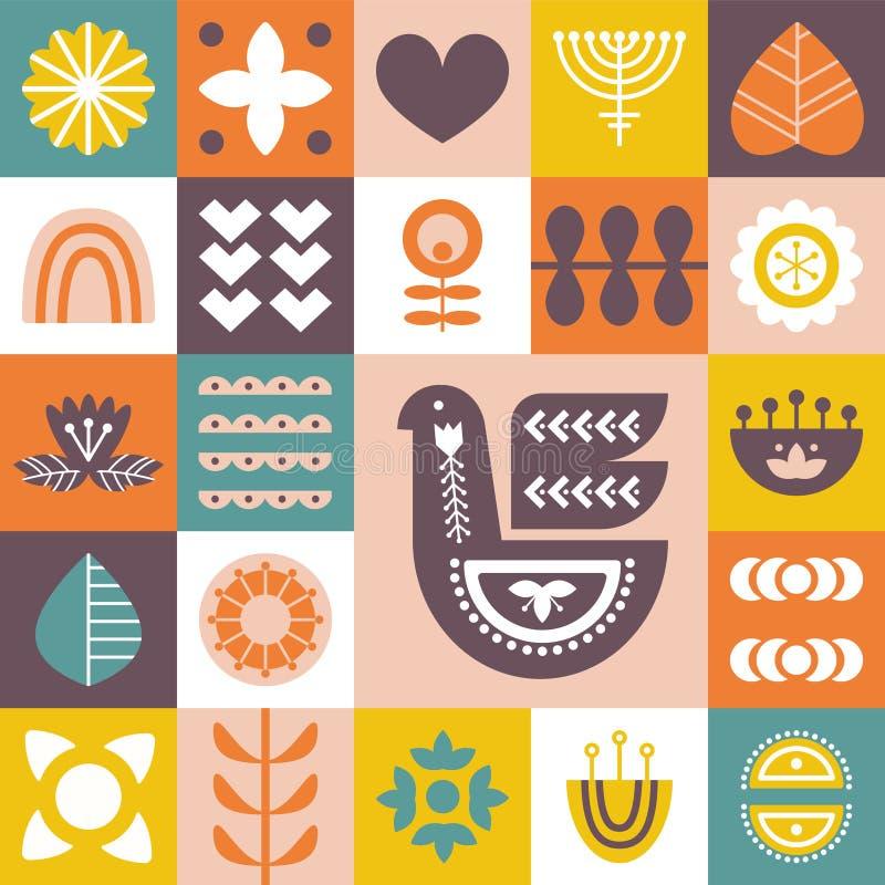 Dekoracyjny wzór z ptakami i kwiecistymi elementami Północny ornament royalty ilustracja