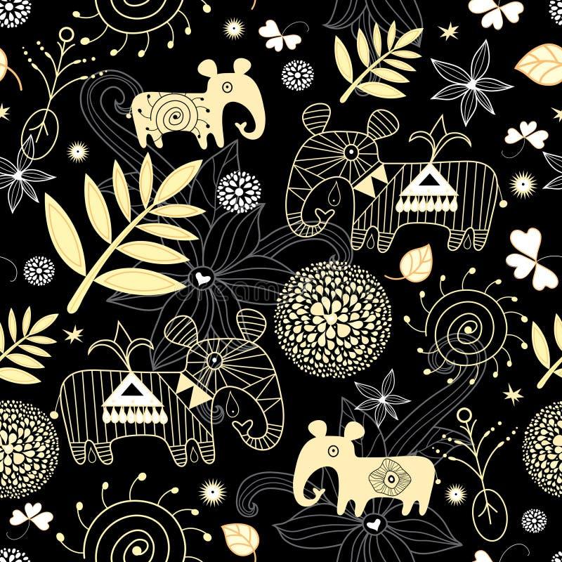 dekoracyjny złocistego liść wzór bezszwowy ilustracji