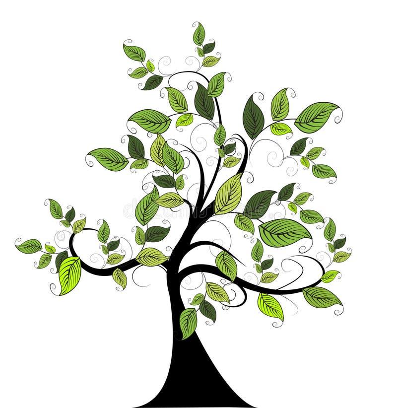 Dekoracyjny zielony drzewo ilustracji