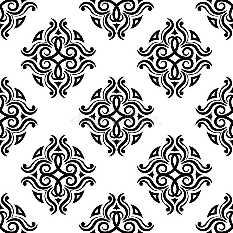 dekoracyjnych elementów kwiecisty ornamentów rocznik Czarny i biały bezszwowi wzory dla tkaniny i tapety royalty ilustracja