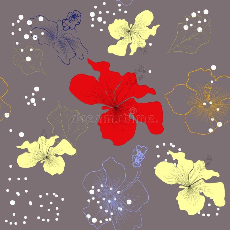 dekoracyjnych kwiatów szary lelui wzór bezszwowy ilustracja wektor